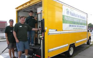 Mike and volunteers on box truck